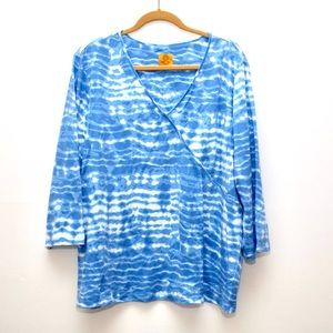 Ruby Rd Blue & White Tie Dye 3/4 sleeve shirt